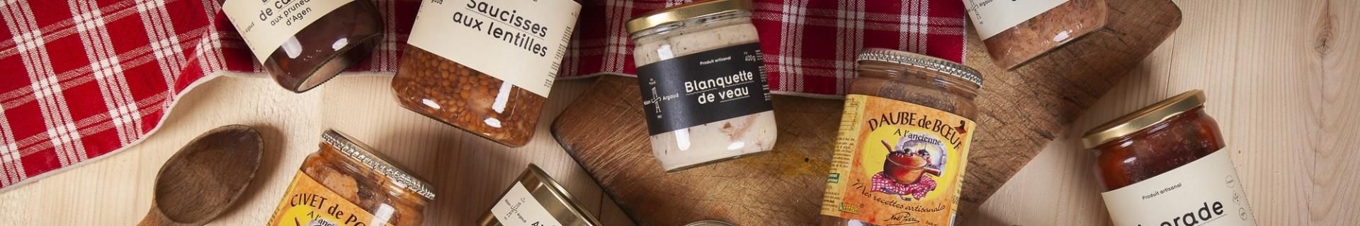 Catégorie Artisanal dishes - Ma Petite France : Traditional beef stew - 600g , Pork stew - 600g , Sausages with green lentils...
